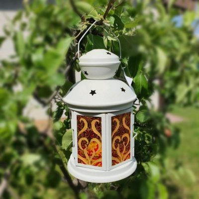 Vitrage Painting Stained Glass Tealight Lantern