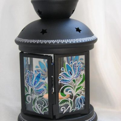 Stained Glass Patio Candle Lantern Decor