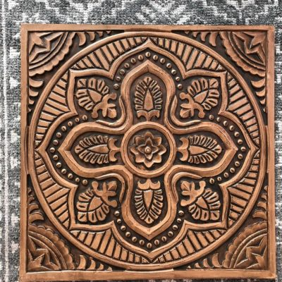 Square Wood-Carved Wall Decor