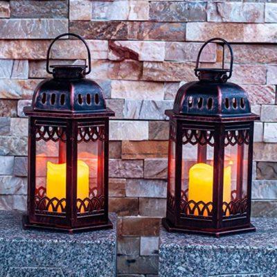 Set of 2 Flickering Decorative Moroccan Lantern