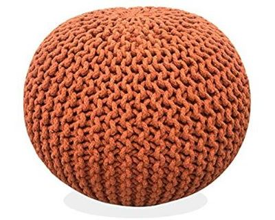 Hand-knitted Cotton Pouf