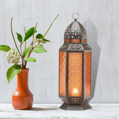 Amber Glass Moroccan Hanging Lantern