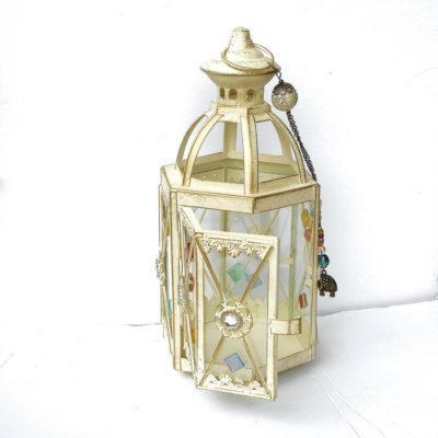 White Metal Candle Lantern With Elephant Charm