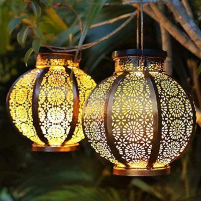 2 Large Solar Decorative Garden Lantern