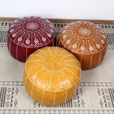 Nordic Style Moroccan Leather Embroidered Ottoman
