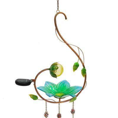 Hanging Solar Lighted Glass Bird Feeder