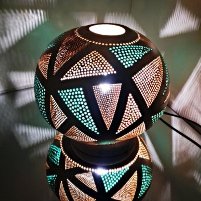 Handmade Triangles Themed Moroccan Gourd Lamp
