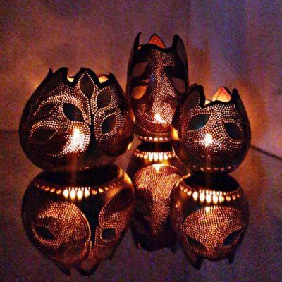 Handmade Gourd Tea Light Holder Set of 3