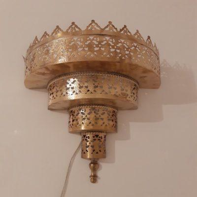 Moroccan Brass Night Light Wall Sconce