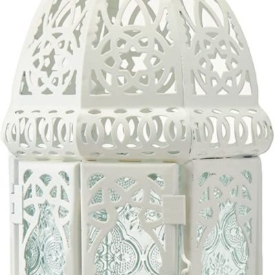 White Lattice Candle Lantern Centerpiece