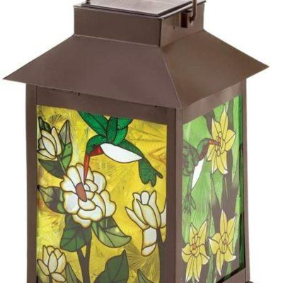 Solar-Powered Stained Glass Garden Lantern