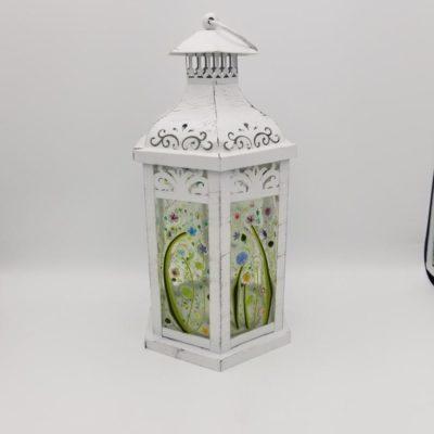 Handmade Floral Glass Garden Lantern