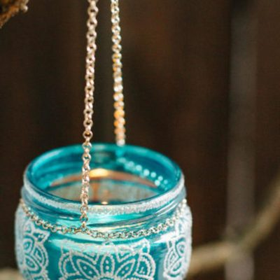 Hanging candle holder, tealight candle holder