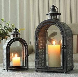 Set of 2 Antique Grey Moroccan Candle Lantern