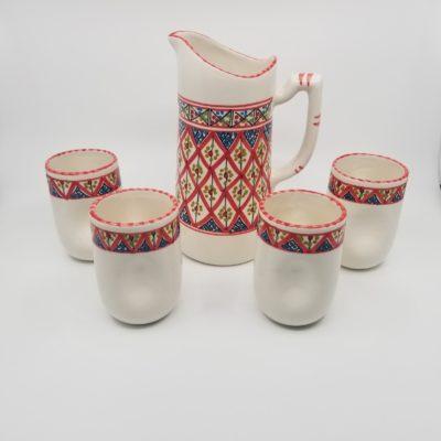 Handmade Moroccan Pitcher with Mugs
