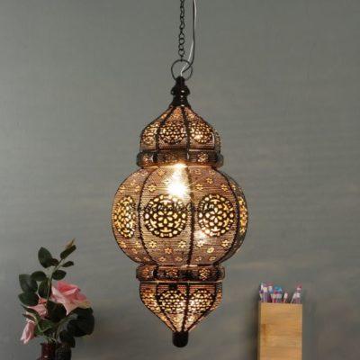 Antique Moroccan Golden Hanging Light