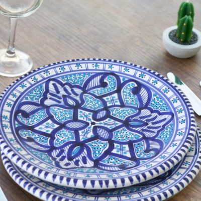 Hand Painted Moroccan Tunisian Dining Plates Set of 2