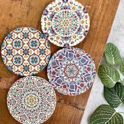 Turkish Moroccan Persian Mandala Drink Coasters | Set of 4