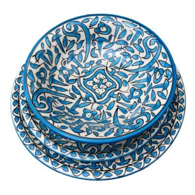 Moroccan Handmade Ceramic Dinner Dish and Dessert Dish